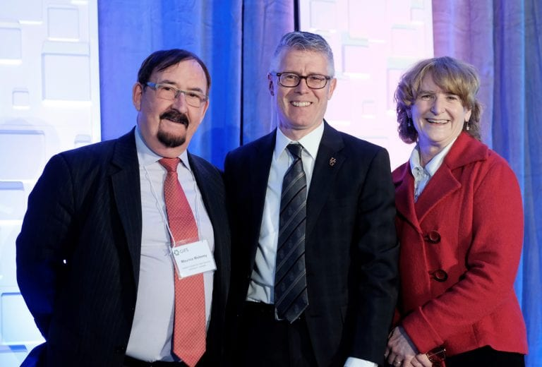 From left: Maurice Moloney, Global Institute for Food Security Executive Director; Malcolm Campbell, University of Guelph Vice President (Research); Karen Chad, University of Saskatchewan Vice President (Research)