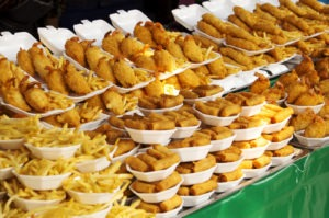 Counter of fried foods