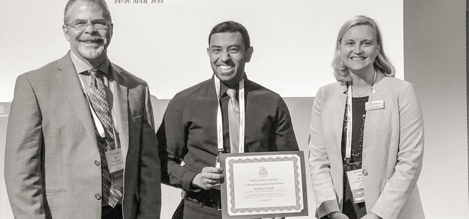 Krishna receiving award