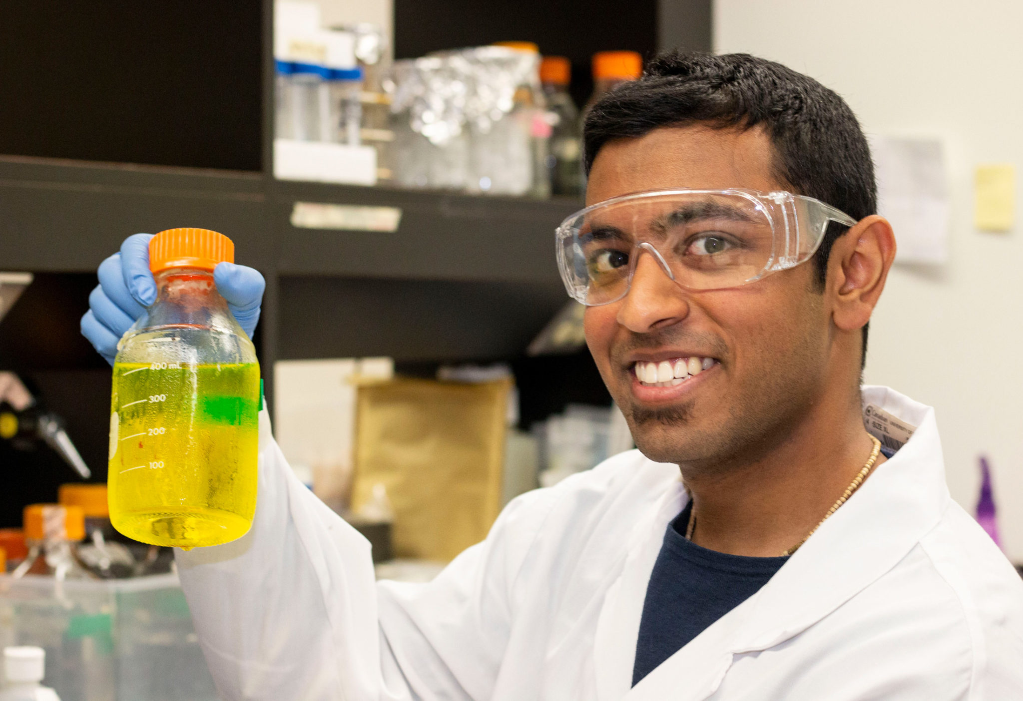 Krishna Gelda in the Canada Research Institute for Food Safety